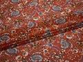 Шифон терракотовый голубой цветы пейсли полиэстер ЕБ373