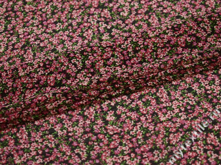 Шифон черный розовый цветы полиэстер ЕБ374