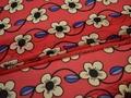 Шифон красный синий цветы полиэстер ЕБ378