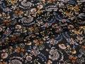 Шифон синий оранжевый цветы полиэстер ЕБ379
