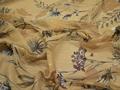 Шифон бежевый цветы листья полиэстер ЕБ381