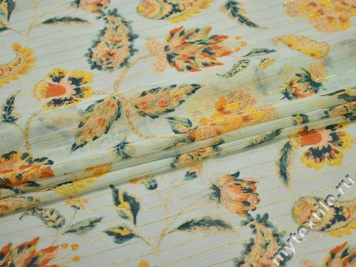 Шифон оранжевый люрекс цветы полиэстер ЕБ386