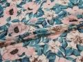 Шифон голубой розовый цветы листья полиэстер ЕБ387