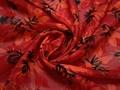Шифон красный черный цветы полиэстер ЕБ390