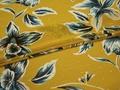 Шифон желтый бирюзовый цветы листья полиэстер ЕБ391