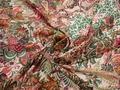 Шифон зеленый красный пейсли узор полиэстер ЕБ392