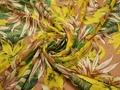 Шифон желтый зеленый листья полиэстер ЕБ393