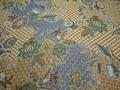 Шифон коричневый синий цветы листья полиэстер ЕБ397
