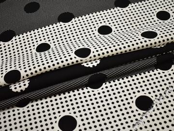 Плательная черная белая ткань круги полиэстер ЕВ441