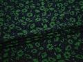 Плательная синяя зеленая ткань цветы полиэстер ЕВ449