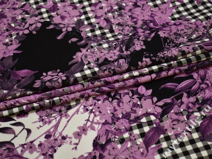 Плательная сиреневая черная ткань цветы полиэстер ЕВ451
