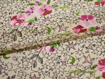 Шифон розовый черный цветы звезды полиэстер ЕВ427