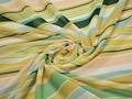 Шифон зеленый персиковый полоска полиэстер ЕВ428