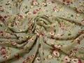 Шифон серый зеленый цветы полиэстер ЕВ429