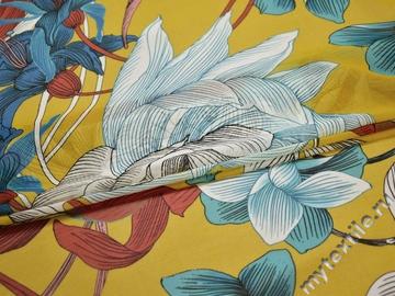 Шифон желтый голубой цветы полиэстер ЕВ433