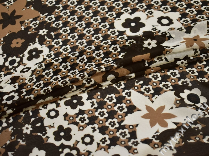 Шифон коричневый белый цветы полиэстер ЕВ436