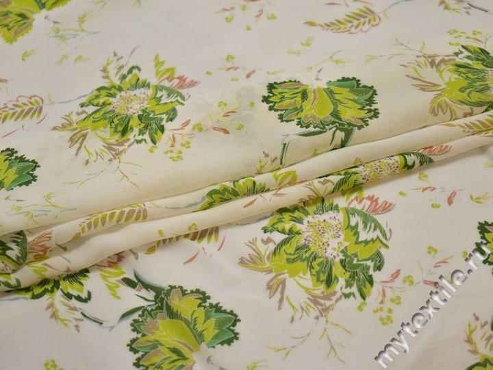 Шифон белый салатовый цветы листья полиэстер ЕВ440