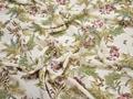 Шифон белый розовый цветы листья полиэстер ЕВ444
