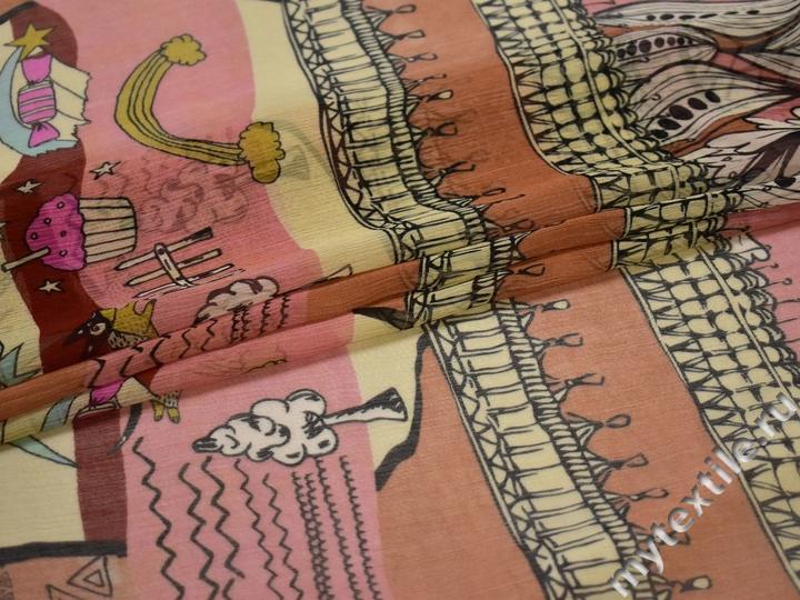 Шифон терракотовый розовый орнамент полиэстер ЕВ445
