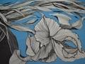 Шифон голубой белый цветы листья полиэстер ЕВ446