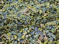 Шифон голубой зеленый цветы листья полиэстер ЕВ448