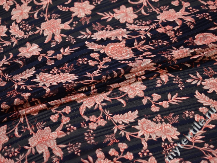 Шифон синий персиковый цветы листья полиэстер ЕВ450