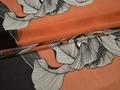 Шифон оранжевый черный цветы листья полиэстер ЕВ452