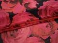 Шифон красный черный цветочный узор полиэстер ЕВ453