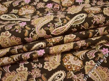 Костюмная коричневая розовая ткань пейсли хлопок эластан ЕА258