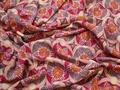 Штапель розовый серый цветы узор вискоза БД169