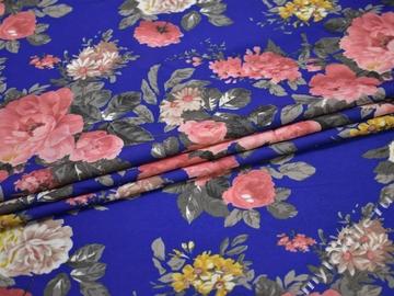 Плательная синяя розовая ткань цветы полиэстер ББ2117
