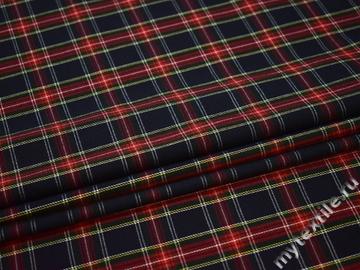 Костюмная синяя красная ткань вискоза полиэстер ВВ363