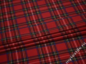 Костюмная красная синяя ткань вискоза полиэстер ВВ361