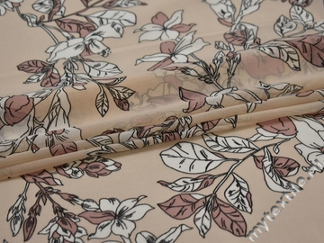 Шифон бежевый цветы листья полиэстер ЕБ41