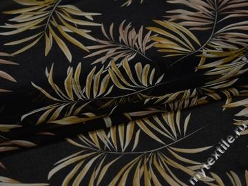 Шифон черный оливковый листья полиэстер ЕБ457