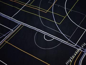 Шифон синий желтый геометрия полиэстер ББ592