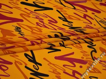 Шифон желтый надписи буквы полиэстер ББ593