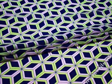 Шифон синий зеленый геометрия полиэстер ББ596