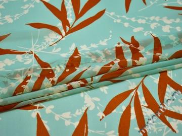 Шифон голубой терракотовый листья полиэстер ББ597