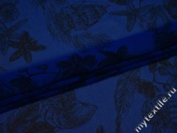 Шифон синий черный цветы полиэстер ЕБ454