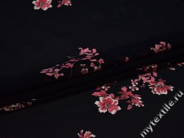 Шифон темно-синий розовый цветы полиэстер ЕБ450
