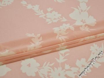 Шифон розовый молочный цветы полиэстер ЕБ448