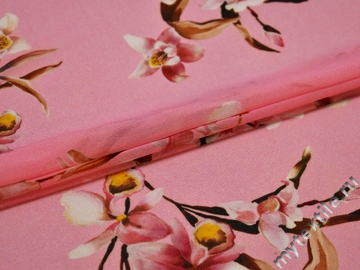 Шифон розовый цветы полиэстер ЕБ443