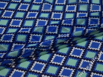 Шифон синий бирюзовый геометрия полиэстер ЕБ437