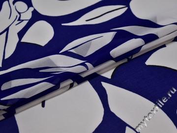 Шифон белый синий абстракция полиэстер ЕБ436