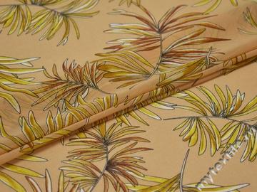 Шифон бежевый листья полиэстер ЕБ434