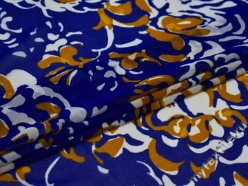 Шифон синий горчичный полиэстер ЕБ433