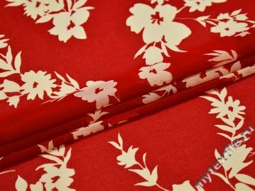 Шифон красный белый цветы полиэстер ЕБ427