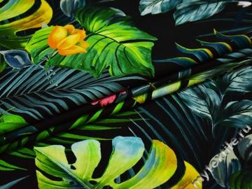 Хлопок зеленый черный цветы листья ЕБ411