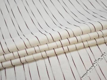 Рубашечная белая бордовая ткань полоска вискоза эластан БГ271